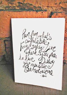 Greeting Card - Rumi Quote - Be Notorious