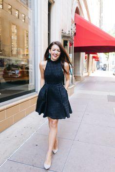 Black Checkered Print Dress | Dallas Wardrobe