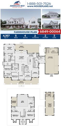 Full of architectural details, Plan features a Modern Farmhouse with sq. Floor Plans 2 Story, House Plans 2 Story, Open Floor House Plans, Farmhouse Floor Plans, Best House Plans, Country House Plans, Dream House Plans, Small House Plans, Dream Houses