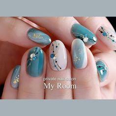 getting nails done Cute Nails, Pretty Nails, My Nails, Winter Nails, Summer Nails, Tie Dye Nails, Japanese Nail Art, Flower Nail Art, Green Nails