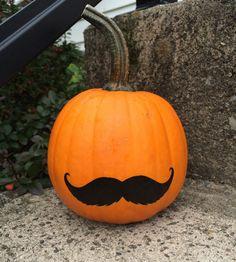Easy Mustache Pumpkins for Halloween