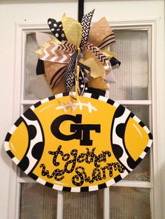 Georgia Tech Yellow Jackets Together We Swarm Football Door Hanger, Father's Day present, - Annabell Football Door Hangers, Baby Door Hangers, Georgia Tech Football, Pinterest Diy Crafts, Pumpkin Birthday Parties, Man Cave Gifts, Yellow Jackets, Fathers Day Presents, Bee Theme