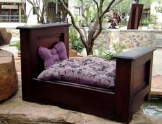 Gus wants this Luxury Dog Bed - Mahogany Mini Headboard/Footboard Dog Bed (Complete Set) Includes - Bed, Mattress, Mattress Cover & Sheet - x x - Made in USA Puppy Beds, Pet Beds, Doggie Beds, Designer Dog Beds, Diy Dog Bed, Dog Furniture, Headboard And Footboard, Bed Styling, Dog Houses
