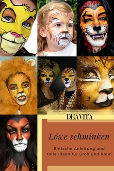 Haloween Would you like to go to the next with a # lion costume this year? Fresh Face Makeup, Full Face Makeup, Lip Makeup, Diy Halloween Costumes, Halloween Face Makeup, Lion Face Paint, Ghost Faces, Makeup Step By Step, Too Faced Makeup