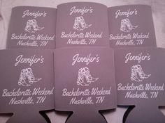 Bachelorette Weekend, Grey Personalized Bachelorette Koozies by Odyssey Custom Designs