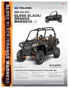2014 Polaris RZR 800 EPS in Gloss Black and Orange Madness. #1SxS #PodiumSxS.com #Polaris #RzR #2014RzR