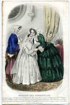 April 1852  +++++++++  gravure de Mode Magasin des Demoiselles avril 1852, Anaïs Toudouze,communiante
