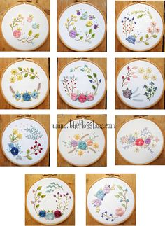 Floral Woven Wheels Embroidery Pattern Pack by Theflossbox on Etsy https://www.etsy.com/listing/289573185/floral-woven-wheels-embroidery-pattern