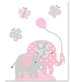 Pink and Gray Elephant Nursery Decor by SweetPeaNurseryArt on Etsy, $15.00