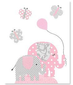 Pink and Gray Elephant Nursery Decor by SweetPeaNurseryArt on Etsy