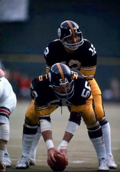 2721c9196 Terry Bradshaw and Ray Mansfield. Ray was a good center there replaced by  Mike Webster who would prove to be the BEST CENTER who ever strapped on a  helmet.