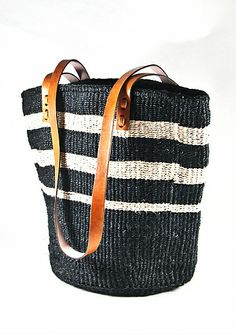 sisal tote - uneven stripes
