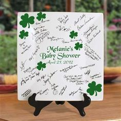 12 inch Square Irish Signature Plate Decorated with Shamrocks for an Irish Baby or Bridal Shower