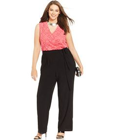 NY Collection Plus Size Sleeveless Lace Wide-Leg Jumpsuit