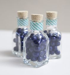 DIY blue sixlet wedding favor