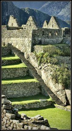 INCA TEMPLE and ruins Machu Picchu, Inca Empire, Peru