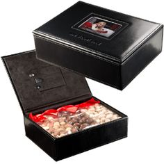 Hinged Leather Black Keepsake Box with photo frame in lid.  Includes 3 bags of nuts.