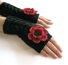 RED and BLACKFingerless Gloves with  flowers by Rumina on Etsy, $27.00