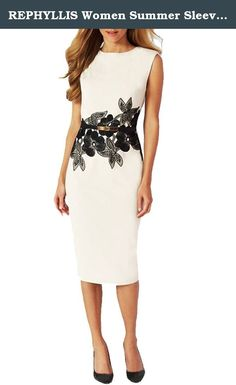 REPHYLLIS Women Summer Sleeveless Floral Print Wear to Work Casual Cocktail Party Pencil Dress White S. Wonderful for you to wear to work,evening party,cocktail party and other special occasions. Round-neck and sleeveless looks great. Casual and sexy comfortable bodycon dress. Size: S,M,L,XL,XXL S Bust/31.5(inch) Waist/26.6(inch) Hip/33.0(inch) Length/40.1(inch) M Bust/33.1(inch) Waist/28.3(inch) Hip/34.5(inch) Length/40.1(inch) L Bust/35.4(inch) Waist/30.5(inch) Hip/37.0(inch)...