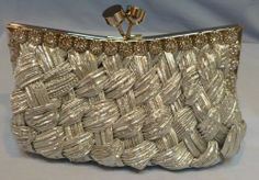New Satin Pleated and Braided Silver Wedding Clutch Evening Bag with Rhinestones #Unbranded #Clutch