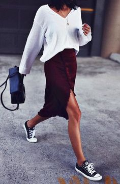 street style. late summer. converse. white top. midi burgundy skirt.