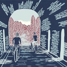 'Summer Stretched Out' Original handmade print of Ballyvoyle tunnel along the Waterford greenway, Ireland