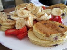 Protein Pancakes (no flour).  I've been making the Oatmeal Pancakes regularly, but this is my new favorite.  It's very similar, but you also add protein powder.  I used vanilla.  I make them according to the recipe if I'm going to use sugar-free raspberry jelly on them.  If I'm eating them plain, I add nutmeg and ground cloves to the recipe.  Wonderful!