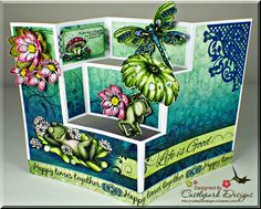 Joann-Larkin-Happy-Times-Open, Card with frogs and flowers