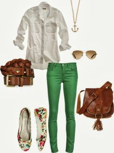 Green Pants With White Shirt And Floral Ballet Flats | Ultimate Women's Fashion