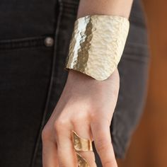 Extra Wide Handmade Hammered Bronze Cuf Bracelet