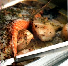 Roasted Salmon, Scallops and Mustard Butter - this is a Two Fat Ladies recipe and is delicious!!  I usually make it without the scallops.