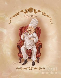 Chefs On A Break-coffee Break Art Print by Shari Warren. All prints are professionally printed, packaged, and shipped within 3 - 4 business days. Choose from multiple sizes and hundreds of frame and mat options. I Love Coffee, Coffee Art, Coffee Break, Coffee Shop, Decoupage, Chef Pictures, Retro, Le Chef, Illustrations