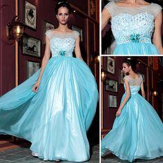 Fashion Retro Gauze Skyblue Diamonds Cocktail Banquest Long Evening Dress Formal Dress,<3!