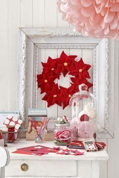"Felt Wreath - I love the idea of ""framing"" the wreath!"