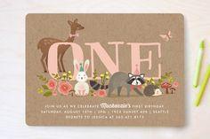 Woodland Celebration Children's Birthday Party Invitations