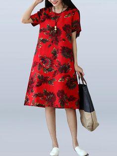 36a443e75ed2 Plus Size Women Summer Dress Floral Short Sleeve Casual Midi Dresses  Holiday O-neck Pockets Cotton Linen Female Vestidos