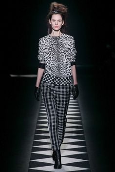 Haider Ackermann | Fall 2015 Ready-to-Wear | 28 Monochrome leopard short sleeve top and checkered trousers