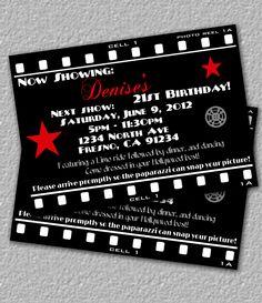 Hollywood Invitation, Printable Movie Invitation. $12.00, via Etsy.