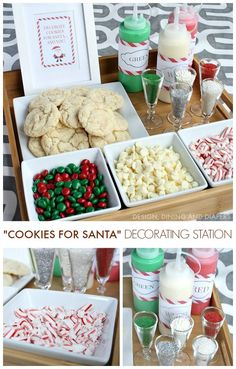 Create a Christmas Cookie Decorating Station for your next holiday party! Perfect for kids and adults and Santa will love them! Create a Christmas Cookie Decorating Station for your next holiday party! Perfect for kids and adults and Santa will love them! Noel Christmas, Christmas Goodies, Family Christmas, Christmas Treats, Christmas Baking, Holiday Treats, Holiday Recipes, Christmas Party Activities, Christmas Party Ideas For Adults