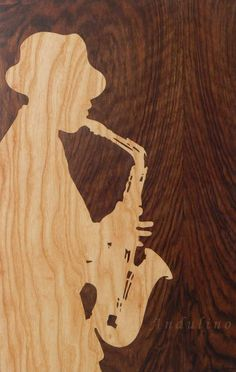 Jazz music painting from wood marquetry portrait inlay intarsia homedecor woodworking gift Andulino Woodworking Shop Layout, Woodworking Crafts, Woodworking Bench, Wood Lathe, Wood Veneer, Music Painting, Intarsia Woodworking, Wooden Art, Pyrography