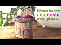 Cómo hacer una cesta con pinzas DIY - YouTube