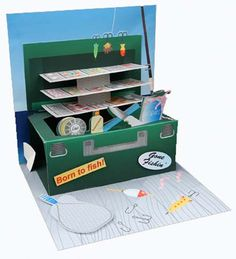 Tackle Box Fishing Treasures Pop Up Greeting Card (I could see this modified as a jewelry box or cosmetics box or sewing kit even! Pop Up Greeting Cards, Pop Up Box Cards, Greeting Cards Handmade, Fancy Fold Cards, Folded Cards, Kirigami, Boy Cards, Men's Cards, Tarjetas Pop Up