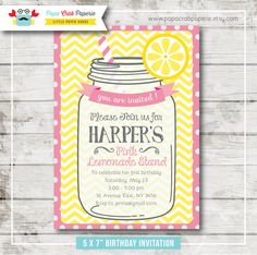 Pink Lemonade Birthday Party Invitation / DIY Party Printables / First Brithday / Free Thank You Card (SBI07) by PapaCrabPaperie on Etsy https://www.etsy.com/listing/183281666/pink-lemonade-birthday-party-invitation