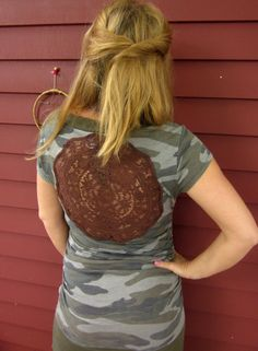 Ruched Sides Camo Print Short Sleeve N by MountainGirlClothing