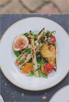 Grilled White Asparagus + Rustic Bread Salad with Figs, Heirloom Tomatoes + Balsamic Herb Dressing. #rockstareats www.rockstarcateringcompany.com