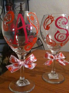 Vine Monogram Wine Glasses Decorated In Vinyl By Lyricalletters - Vinyl decals for drinking glasses