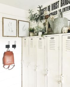 I get asked a lot about our lockers in our mud/locker room. I decided to not put a closet in this space and just use these 5 old lockers. Home Lockers, Metal Lockers, Diy Locker, Locker Storage, Vintage Lockers, Locker Decorations, Interior Exterior, Mudroom, Room Inspiration