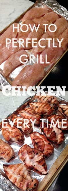 How to Perfectly Grill Chicken Breasts - put a little olive oil on the chicken to keep them from sticking to the grill, cook the chicken for 10 - 15 minutes per side, remove from heat, let it rest for at least 10 - 15 minutes.  Grill a bunch at once, so you can eat it throughout the week saving time in meal prep