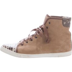 Pre-owned Lanvin Cap-Toe High-Top Sneakers ($175) ❤ liked on Polyvore featuring shoes, sneakers, brown, suede shoes, brown shoes, suede high tops, lace up sneakers and brown high tops