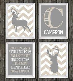 Deer nursery decor boys nursery art tan and by customedgestudio
